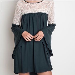 Altar'd State | Green Cream Lace Flare Dress | M
